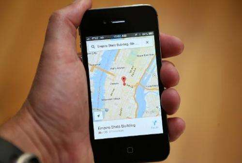 The Google Maps app is seen on an Apple iPhone 4S on December 13, 2012, in Fairfax, California