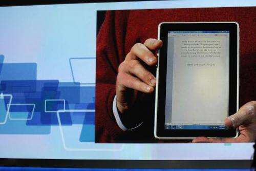 The HP Slate computer and e-reader is displayed at the International Consumer Electronics Show on January 7, 2010 in Las Vegas,
