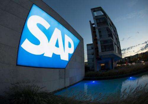The logo of German software giant SAP is seen in front of the company's headquarters in Walldorf, southern Germany, on October 2
