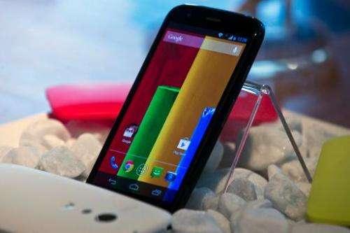 "The new low cost ""Motorola Moto G"" smartphone, is displayed in Sao Paulo, Brazil on November 13, 2013"