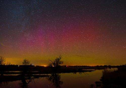 The night sky over the river Havel in Guelpe, northeastern Germany, on February 23, 2014