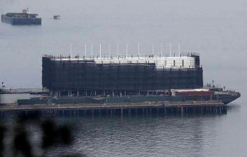 The now confimed Google barge under construction is docked at a pier on Treasure Island on October 30, 2013 in San Francisco, Ca