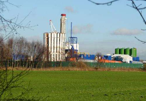 The site where energy company IGas has permission to carry out exploratory drilling for shale gas, at Barton Moss in Manchester,