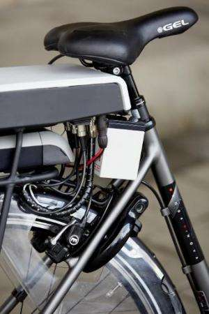 "The special safety technology is seen on the new ""intelligent bicycle"" in The Hague, Netherlands, on December 15, 2014"