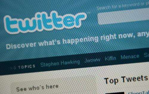 The Twitter homepage appears on a screen in Washington on September 3, 2010