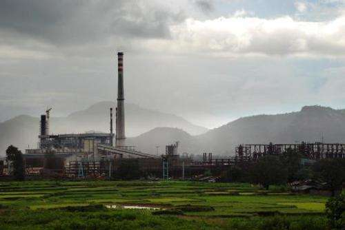The Vedanta aluminum refinery is pictured at Lanjigarh, some 420 kilometers south-west of Bhubaneswar on August 25, 2010