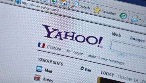 The Yahoo homepage is seen on a computer screen in Washington, DC on October 19, 2010