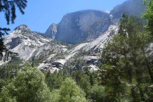 This July 9, 2014 photo shows the Half Dome at the Yosemite National Park in California