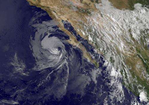 This NASA satellite image shows Hurricane Norbert over Baja, Callifornia on September 6, 2014