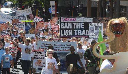 Thousand of protestors march to Parliament to have canned hunting banned as part of a global march for lions in Cape Town on Mar