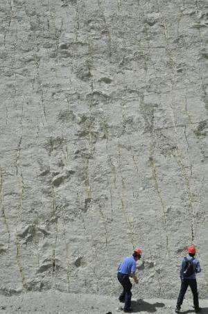 Tourists visit the rocky outcrop where dinosaur pawprints were found at the Cretaceous Park in Cal Orcko hill in Sucre, on Septe