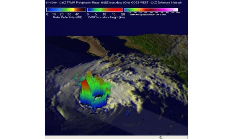 TRMM eyes rainfall in dissipating former Hurricane Cristina