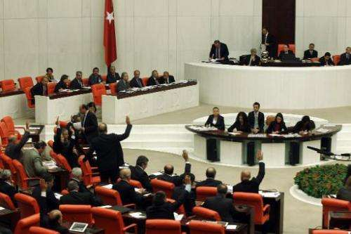 Turkish Members of Parliament debate new Internet legislation in Ankara on February 5, 2014