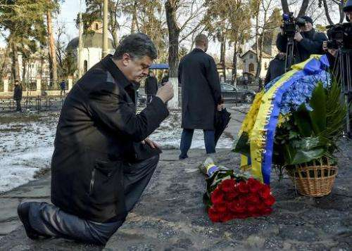 Ukrainian President Petro Poroshenko at the memorial in Kiev to the Chernobyl nuclear disaster