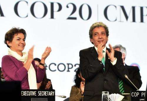 UNFCCC Executive Secretary Christiana Figueres and COP20 President and Peruvian Minister of Environment Manuel Pulgar celebrate