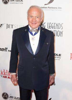 US astronaut Buzz Aldrin pictured at the Living Legends Of Aviation Awards in California on January 17, 2014