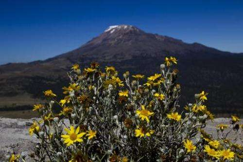 View of the Iztaccíhuatl mountain in Mexico and its glacier which experts consider doomed to disappear in 10 years due to global