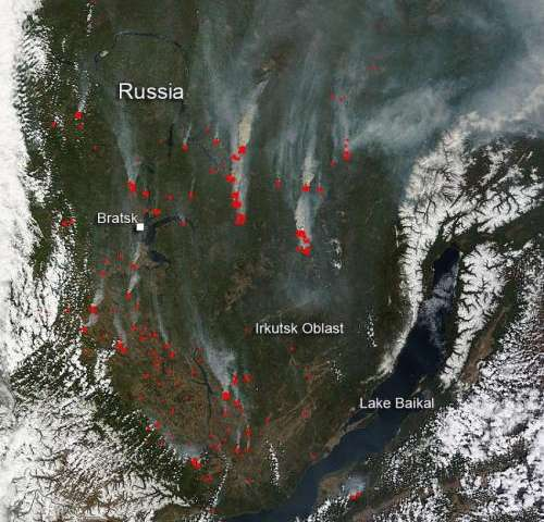 Wildfires around Lake Baikal, Russia