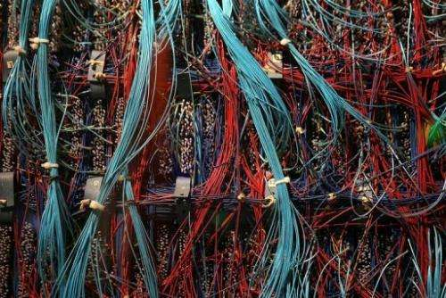 Wires and switches of a supercomputer are displayed on January 19, 2011 in Mountain View, California