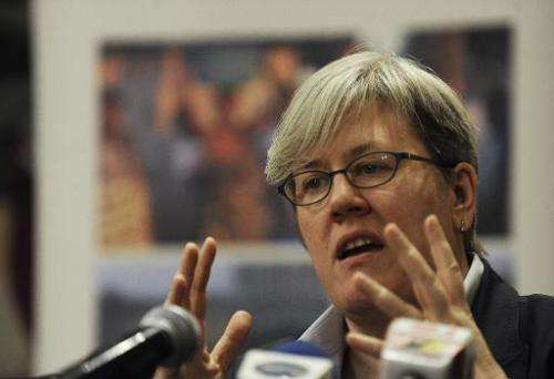 World Bank special envoy for climate change Rachel Kyte, pictured during a press conference in Nairobi, on February 3, 2012