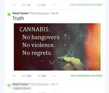 Youth regularly receive pro-marijuana tweets