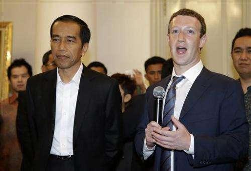 Zuckerberg in Indonesia for Internet-access push