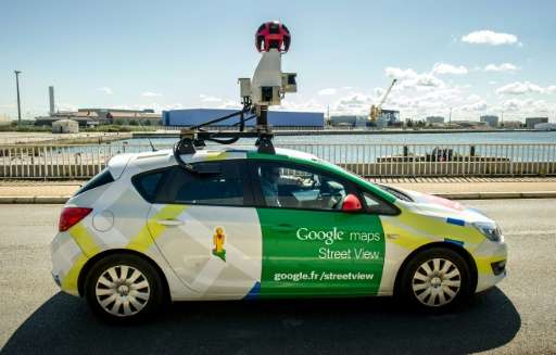 A Google Street View vehicle collects imagery for Google Maps while driving down a street in Calais, northern France, on July 29
