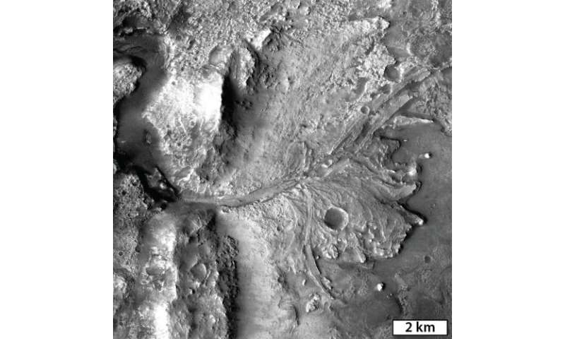 Ancient Martian lake system records 2 water-related events
