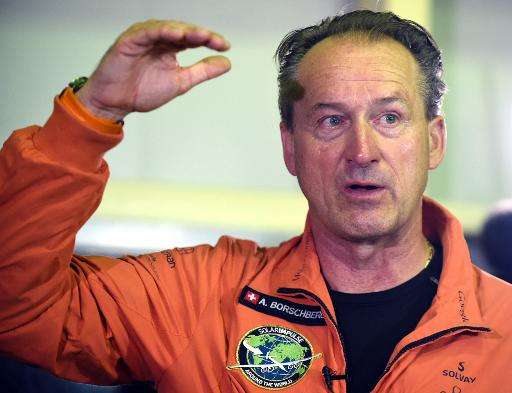 Andre Borschberg, a pilot of Solar Impulse 2 speaks to journalists prior to boarding his plane at the Nagoya airport in Japan on