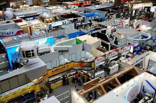 An overview of the booths at the World Trade Center, during the Computex tech show in Taipei, in June 2014