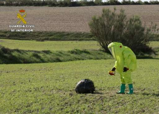 A picture provided by Spanish Interior Ministry on November 12, 2015 shows an emergency services employee in a protective suit c