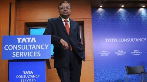 Chief Executive Officer of Indian software firm Tata Consultancy Services Natarajan Chandrasekaran speaks in Mumbai on April 21,