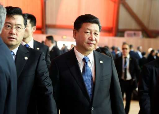 Chinese President Xi Jinping arrives for the plenary session at the COP 21 United Nations conference on climate change, in Le Bo