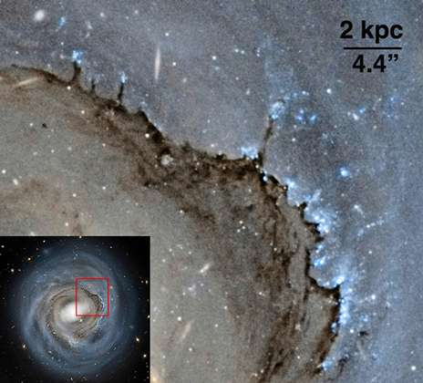 Dust pillars of destruction reveal impact of cosmic wind on galaxy evolution