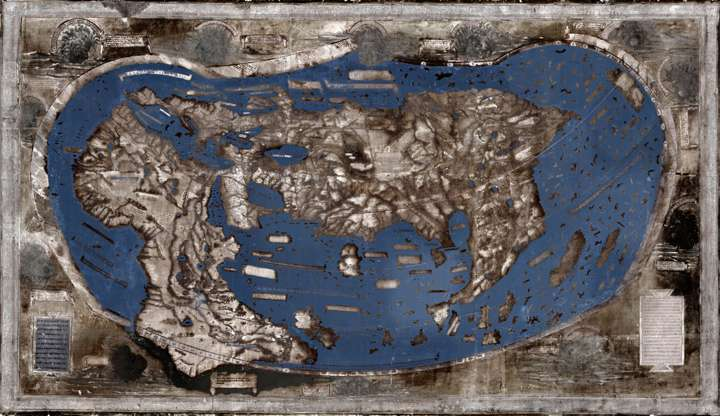 Hidden secrets of 1491 world map revealed via multispectral imaging
