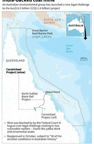 Map locating the India-backed coal mine project near Australia's Great Barrier Reef