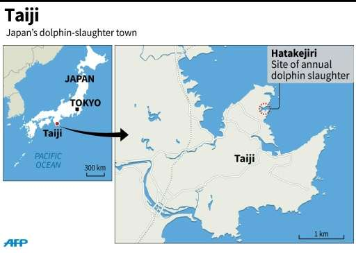 Map of Japan locating the town of Taiji where daolphins are hunted every year
