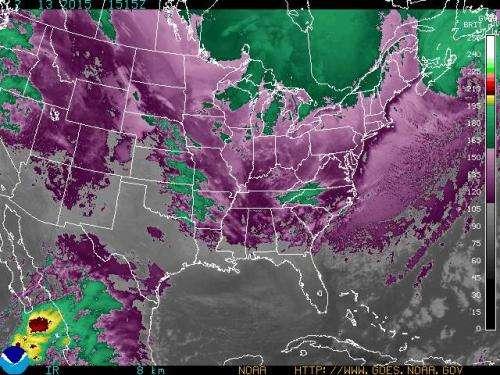 NASA measures frigid cloud top temps of the Arctic air outbreak