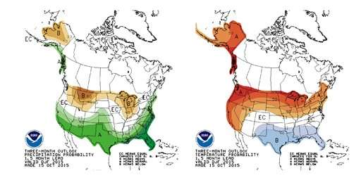 NOAA: Thanks to El Nino, the US looks pretty wet this winter