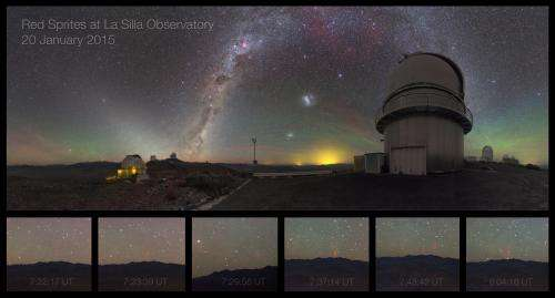Rare images of red sprites captured at ESO