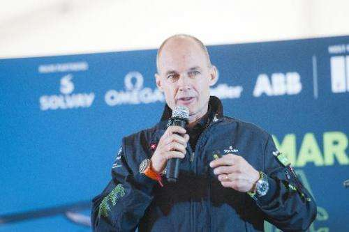 Swiss pilot Bertrand Piccard of Solar Impulse 2 speaks during a press conference at Mandalay international airport, Myanmar, on