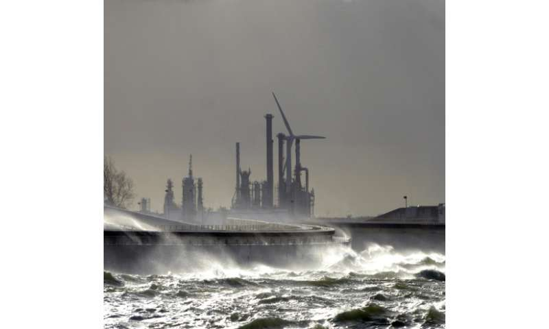 The giant Maeslant surge barrier that guards the entrance to the largest port in Europe, Rotterdam