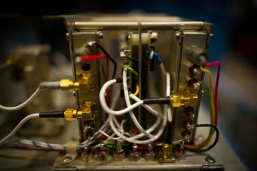 """The interior of a 1970s-vintage """"atomic clock"""" designed to work in space, photographed April 10 2013  at the Smithsoni"""