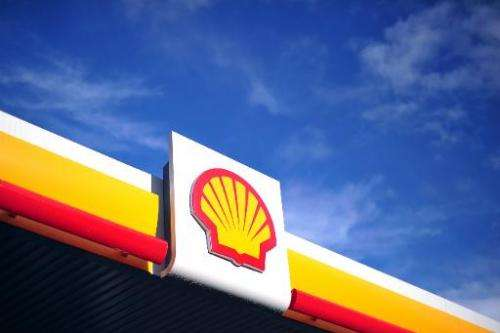 The Shell logo is pictured at a petrol station in central London on January 17, 2014
