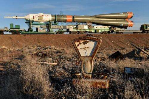 The Soyuz TMA-16M spacecraft is transported to a launch pad at the Russian-leased Baikonur cosmodrome in Kazakhstan, on March 25