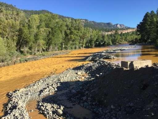 This photo provided by La Plata County in Colorado on August 10, 2015 shows the orange colored Animas River near Durango, Colora