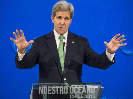 """US Secretary of State John Kerry delivers a speech at the """"Our Ocean"""" meeting in Vina del Mar, Chile, October 5, 2015"""