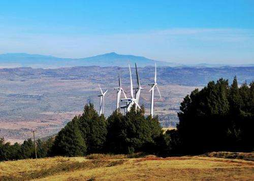 Wind turbines in the Ngong hills near Nairobi, where climate scients are meeting