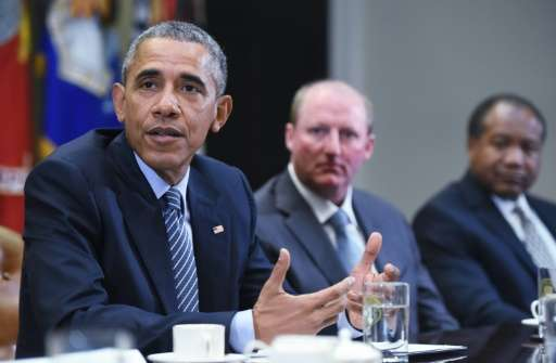 US President Barack Obama speaks following a roundtable discussion with CEO's on mitigating climate change, at the White House i