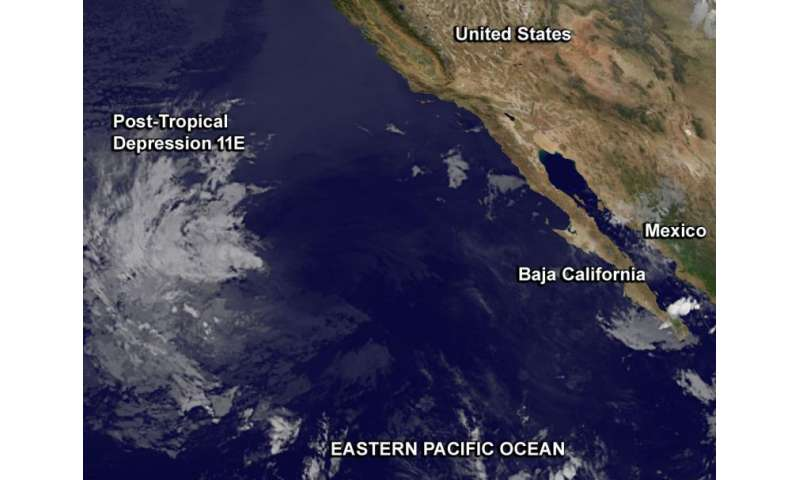 Satellite sees the end of Tropical Depression 11E